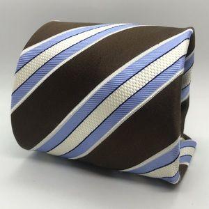 DONALD TRUMP Brown White Blue Striped Luxury Tie
